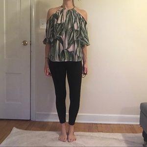 Leaf print cold shoulder blouse, sz medium